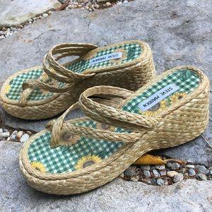 STEVE MADDEN Kris Straw Platform Sandal Flip Flops